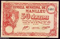 Banknotes Local - Manlleu (Catalonia) .50 Cts. Year 1937 - Without Series - EBC
