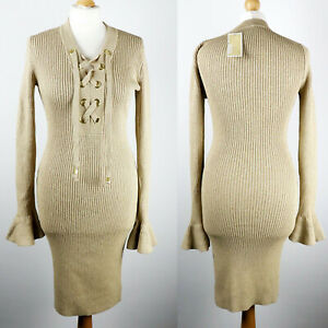 £180 MICHAEL KORS Fitted Midi Rib Knitted Dress SIZE S UK 8-10 Gold Lace-up Long