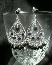 Vintage Chandelier earrings dangle silvertone black onyx beads pierced fashion