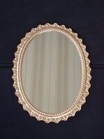 Vintage Wooden Gold Scroll MCM Hollywood Regency Ornate Oval Wall Mirror