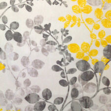 RICHLOOM MIRINA CANARY GRAY YELLOW LEAF VINE UPHOLSTERY CURTAIN FABRIC BTY 46A3