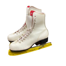 Ladies Figure Skates, White, Size 8, Imperial Hardened & Tempered Blades, Used