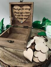 Guest Book Alternative Wedding Personalised 80 Hearts Guestbook Rustic Drop Box