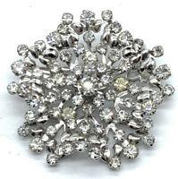 Vintage Snowflake Rhinestone Brooch Clear Prong Set Rhodium P Layered Riveted SB