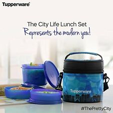 Tupperware City Life Plastic Lunch Set with Bag, 3-Pieces, Blue
