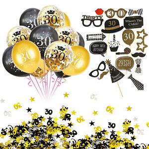 30. Geburtstag Party Deko Set - Ballons + Fotorequisiten + Konfetti Gold Schwarz