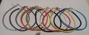 """BRAIDED LEATHER ANKLET ANKLE BRACELET - 14  COLOURS 10"""" + EXT - BUY 4 GET 1 FREE"""