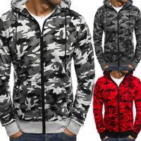 Fashion Men Camouflage Hooded Hoodie Casual Loose Zipper Sweatshirt Warm Outwear
