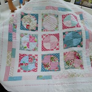 Homemade Quilted Square Tablecloth Throw 43 x 45 Inches