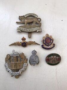 ORIGINAL WW2 MILITARY BADGES RAF LEICS ESSEX HOME FRONT SWEETHEART