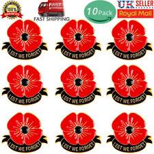 10 X Poppy Pin Badges LEST WE FORGET Poppy Brooch Enamel Lapel Metal Brooch Pin