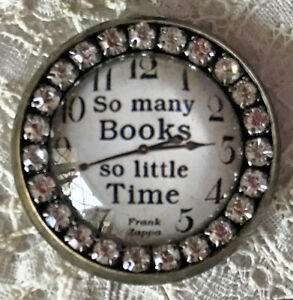 SO MANY BOOKS Glass Rhinestone BROOCH Lapel Scatter Pin Reading Gift Librarian