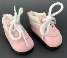 """Vintage Doll Shoes Pink/White Tiny Gym Sneaker Lace Up Boots Cute New Nip 1.25"""""""