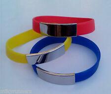 Bracciale colore Blu pvc+metallo personalizzabile (incisione)