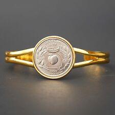 US 1999 Georgia State Quarter Coin Gold Plated Cuff Bracelet - Beautiful