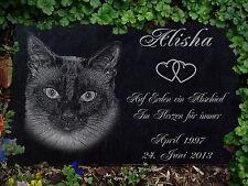Grabstein Gedenkstein Gedenkplatte Siam Katzen Katze-010 ►Textgravur◄ 20 x 15 cm