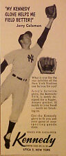 1957 Jerry Coleman Yankees Kennedy Baseball Gloves Vintage Sports Trade Ad