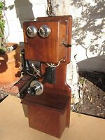 Antique Vintage Kellogg Walnut Wood Double Box Wall Crank Phone, Excellent Cond.