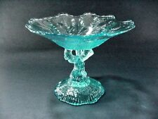 Portieux Vallerysthal French Blue Candy Footed Compote Open Tree Trunk Stem RARE