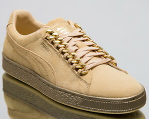 Puma Suede Classic x Chain Men New Reed Yellow Gold Lifestyle Sneakers 367391-02