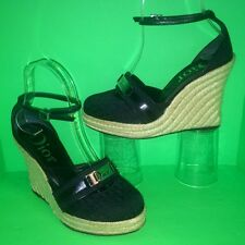 DIOR Logo Monogram Gladiator Ankle Strap Espadrille Wedge Heel Sandal Shoe 36 6