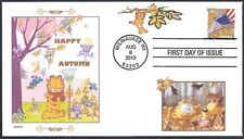 GARFIELD  HAPPY AUTUMN   ODIE    MICE  RAKE  LEAVES      FDC- DWc  CACHET