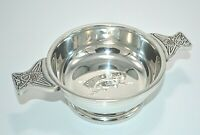 "4"" Pewter Scottish QUAICH Bowl CHIVAS REGAL 12 Engraved Celtic Knot Design NIB"