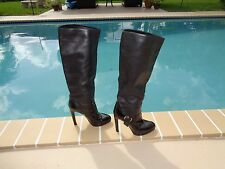 SERGIO ROSSI BLACK LEATHER & PATENT LEATHER KNEE HIGH BOOTS Sz 40M MADE IN ITALY