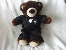 "15"" BABW brown bear in wedding tux with bow tie and flower"