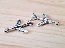 10 x Silver Tibetan 22mm Plane Jewellery Jewelry Charm/Pendant craft wedding