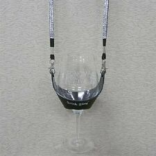 Black Hands Free Wine Glass Holder w/ Clear Bling