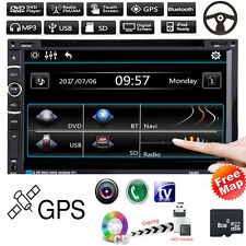 "7"" HD Double 2 DIN Car DVD Player GPS Nav Bluetooth Touch Stereo Radio FM TV+MAP"