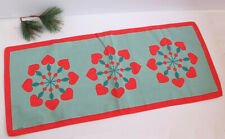 Vintage Anki Swedish Christmas Table Runner Scandinavian Hearts Snowflakes