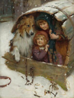 LMOP1346 hand painted little girls with animal dog oil painting art on canvas