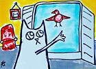 "Original ACEO Bird Cat Painting ""Say Goodbye"" Miniature Art By Samantha McLean"