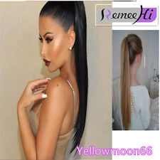 Real Clip In Human Hair Extensions Women Straight Wrap On Around Hight Ponytail