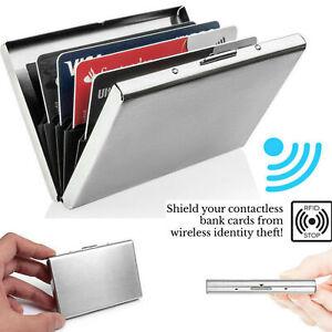 Stainless Steel Case Slim RFID Blocking Wallet Anti-scan ID Credit Card Holder