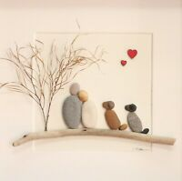 Pebble art Couple and 2 dogs, Personalised framed pebble art, Special gift