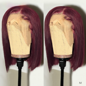 13x4 Straight Burgundy Bob Lace Front Wigs Pre Plucked 150% Density for Women