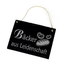 Schiefertafel Schild - Bäcker aus Leidenschaft - Dekotafel Spruch ca. 22 x 16 cm
