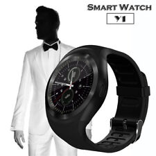 Black Y1 Bluetooth Smart Watch Phone Mate Round Touch Screen for Android IO
