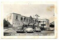 RPPC photo postcard CASA DEL MAR APARTMENTS, OCEAN LAKE, OREGON Cooper 1951