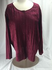 NWT Womens CHRISTOPHER & BANKS Top Blouse Shirt Size 3X Pleated Button Down RED