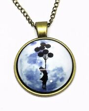 Girl Balloons Banksy Inspired Glass Cabochon Necklace Bronze Chain