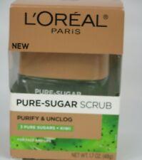 Loreal Pure Sugar Scrub Purify Unclog 3 Pure Sugars and Kiwi 1.7 oz  New