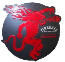 "32"" Fireball Whiskey Sign Large Round Metal Bar Sign"