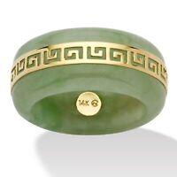 "Genuine Green Jade 14k Yellow Gold ""Greek Key"" Ring"