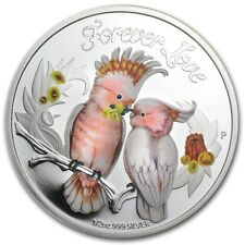 2014 Tuvalu 1/2 oz Silver Forever Love Cockatoos Proof Coin with Box and COA