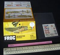 1970s Vintage FROG Instructions & Decal (No Kit) French Dewoitine D520C  (N223)