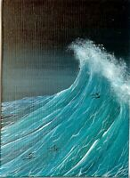 ACEO Original Acrylic Seascape Waves Ocean Sea Foam Spray Miniature Art HYMES